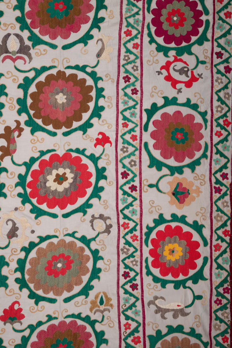 Suzani with Light Blue Background from Uzbekistan, Central Asia, 1970s-1980s For Sale 1