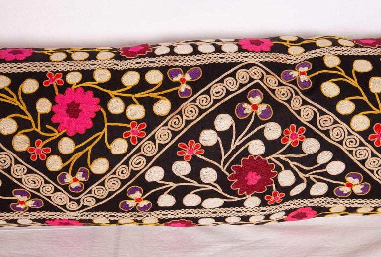 Embroidered Suzan Lumbar Pillow Case Fashioned from a Mid-20th Century Uzbek Suzani For Sale