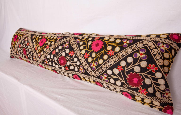 Silk Suzan Lumbar Pillow Case Fashioned from a Mid-20th Century Uzbek Suzani For Sale