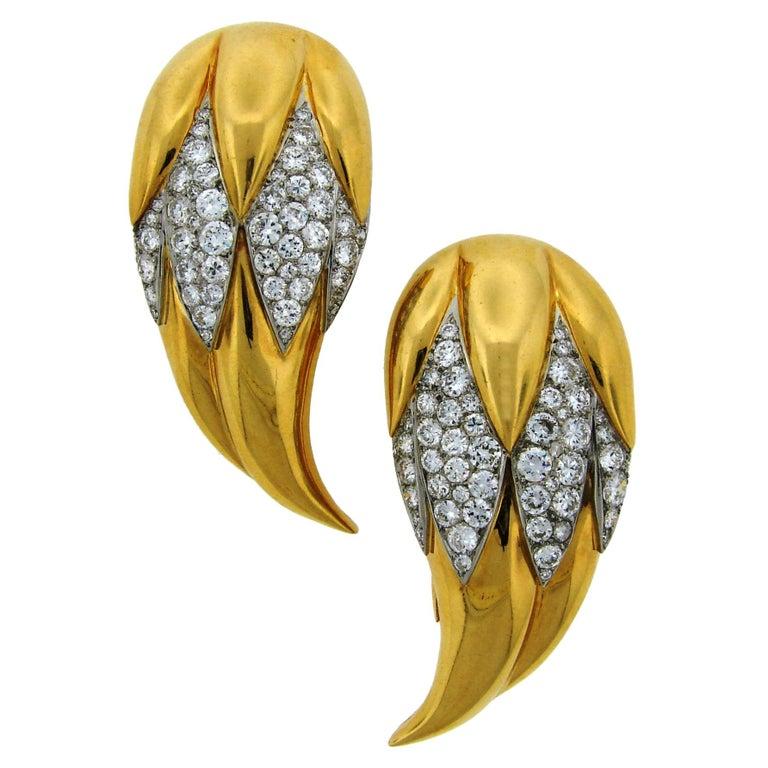 Suzanne Belperron Dents de Loup Diamond Gold Platinum Clip Brooches For Sale
