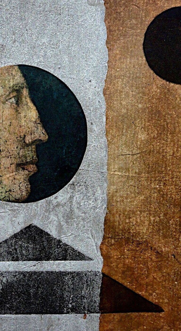 Suzanne Benton_Visionary_2013_ monoprint with Chine collé_ 9 ¼ x11 ¾ in - Brown Portrait Print by Suzanne Benton