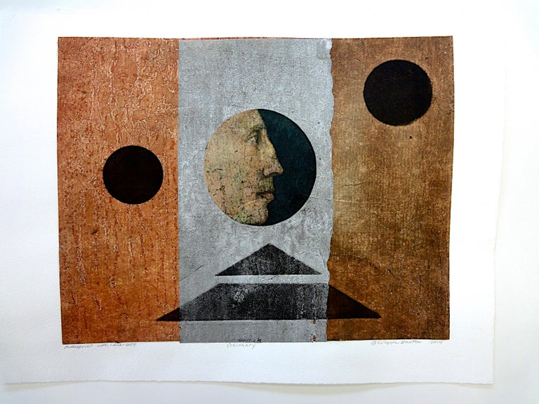 Suzanne Benton_Visionary_2013_ monoprint with Chine collé_ 9 ¼ x11 ¾ in - Print by Suzanne Benton