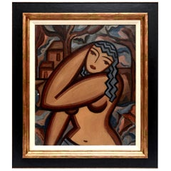 Suzanne Bertillon Art Deco Cubist Painting Custom Framed French Vintage