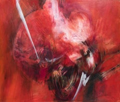 Untitled Abstract Composition in Red, Black & White #9891