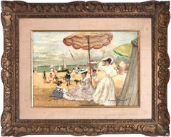 """""""Beach Scene With Figures and Parasol"""" 20th Century American Oil Painting"""