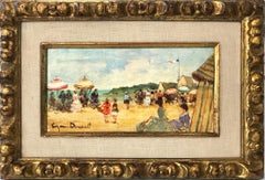 20th Century American Oil Painting Beach Scene With Figures