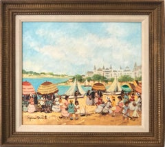 """Nice, Beach Scene"" 20th Century French Impressionistic Oil Painting on Canvas"