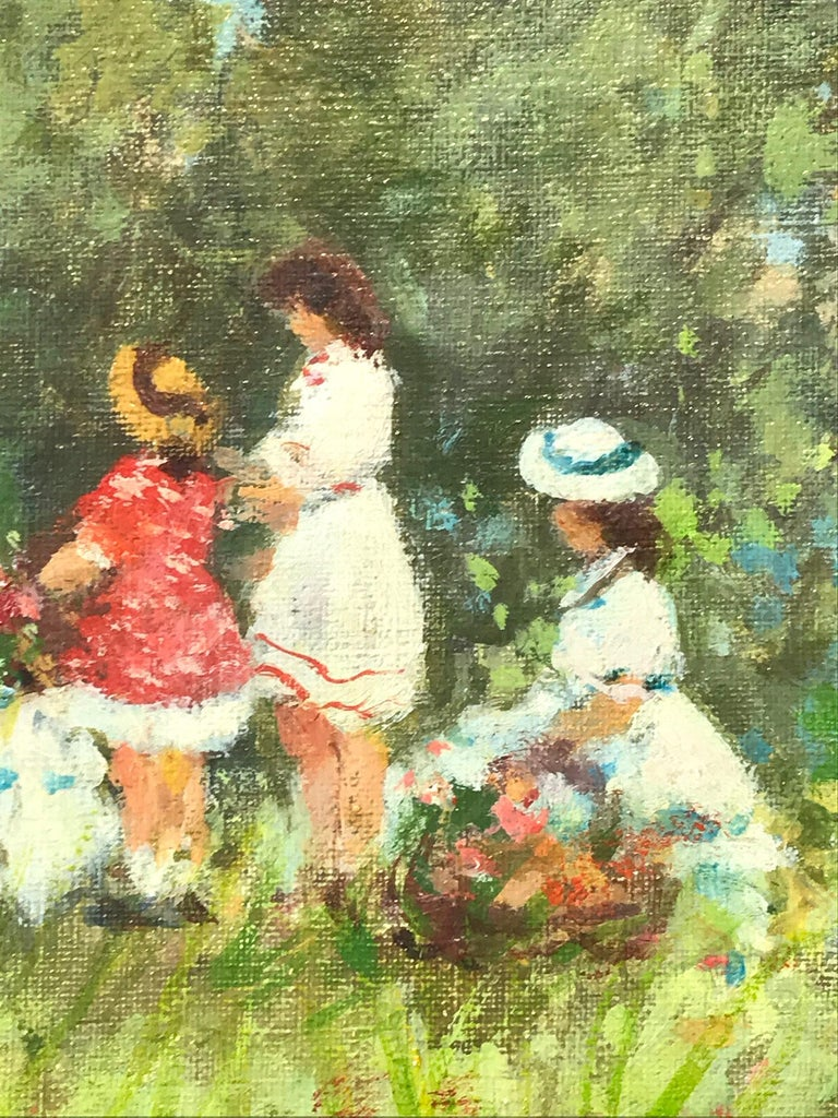 A stunning oil painting depicting figures by the Lakeside in the 20th Century. Demarest was known for her charming intimate figurative scenes portraying life in the North East. She was profoundly active, picking up her subjects from the beaches,