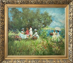 """Lakeside Picnic Scene with Figures"" 20th Century French Oil Painting on Canvas"