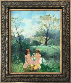 """Women in Field Picking Flowers"" Countryside Landscape Oil Painting on Canvas"