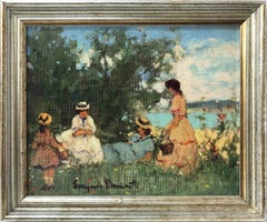 """Picnic Park Scene near the Beach"" 20th Century American Oil Painting on Canvas"