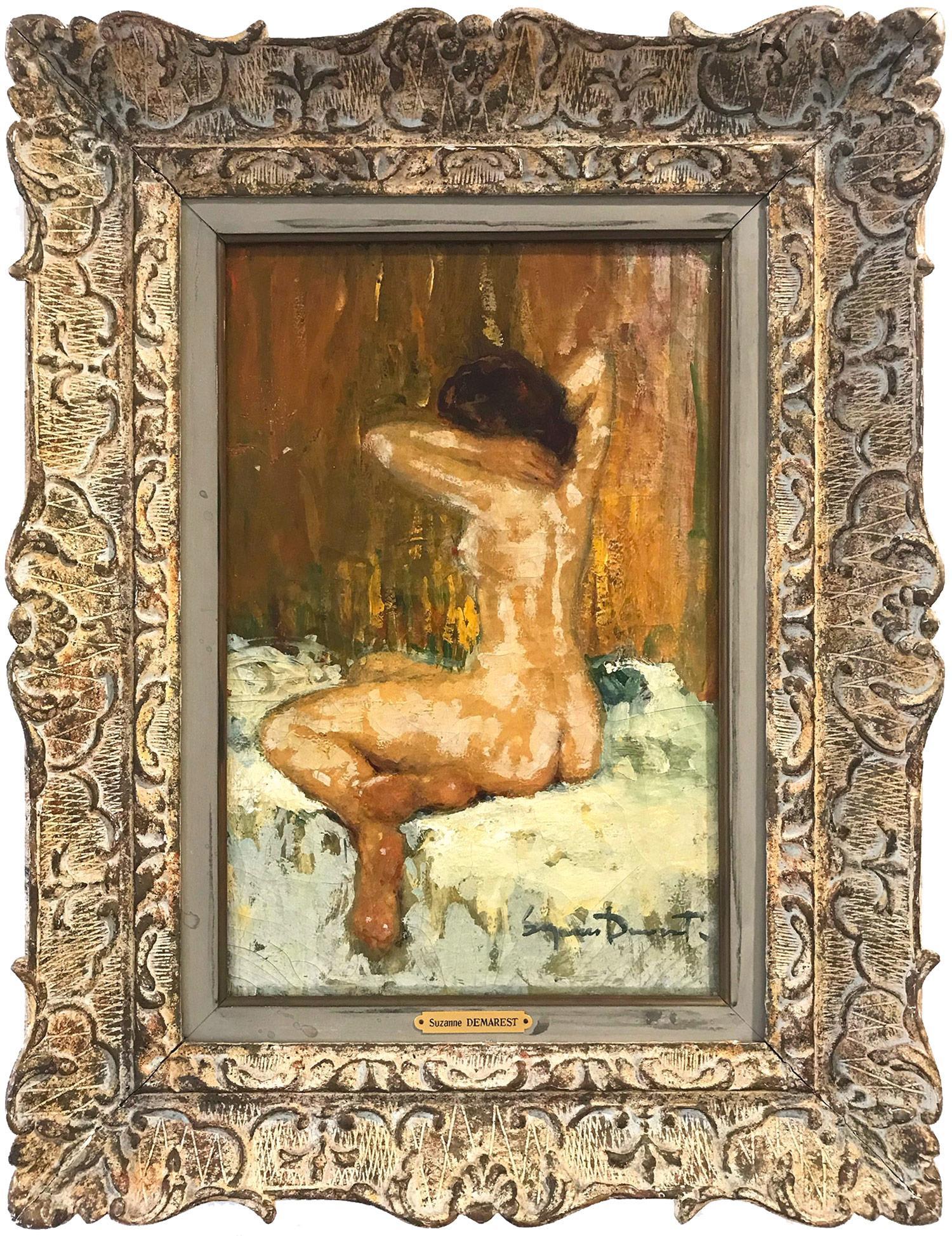 """""""Seated Nude"""" Impressionist Interior Scene Female Figure Oil Painting on Canvas"""