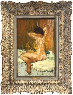 """Seated Nude"" Impressionist Interior Scene Female Figure Oil Painting on Canvas"