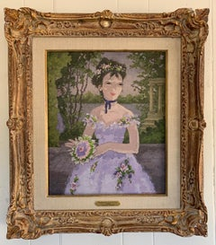 Early 20th century French impressionist portrait of a girl, le premier Bouquet