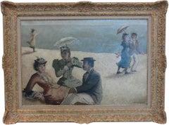 "Suzanne Eisendieck Oil on Canvas ""Á la plage"" ( On the Beach )"