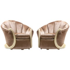 Suzanne Geismar Swan Leda Lounge Chairs in Mink Velvet and Ivory Parchment Swans