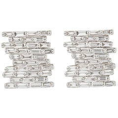 Suzanne Kalan Pave Baguette Diamond Earrings