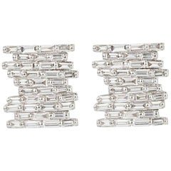 Suzanne Kalan Pave Baguette Diamond Earrings