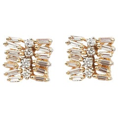 Suzanne Kalan Staggered Diamond Earrings