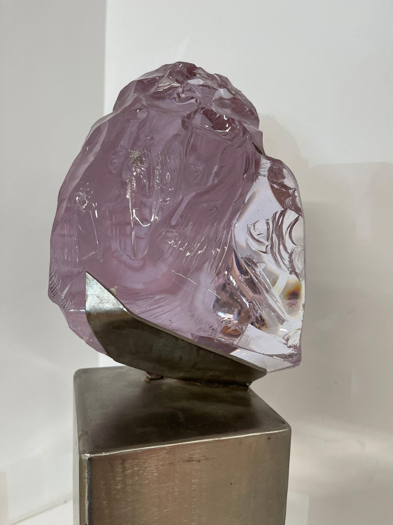 Suzanne Pascal Carved Slag Glass Bust 6