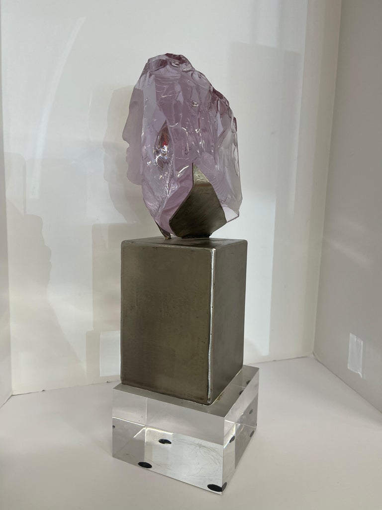 Suzanne Pascal Carved Slag Glass Bust 8