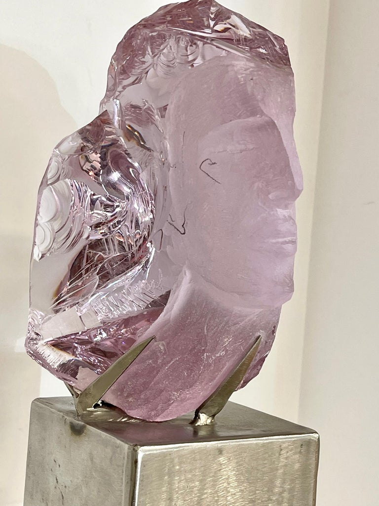Hand-Carved Suzanne Pascal Carved Slag Glass Bust
