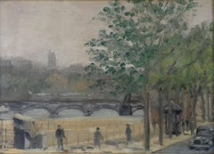 French Paris Street Scene Cityscape Seine River Utrillo like poignant war 1940