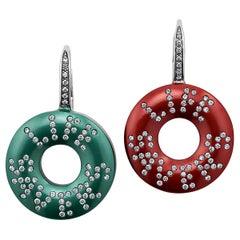Suzanne Syz Diamond Gold Titanium Life Saver Drop Earrings