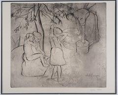 Children's Bath in the Garden - Original handsigned etching
