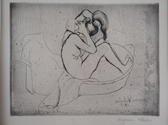 Naked Woman Bathing - Original Etching Handsigned