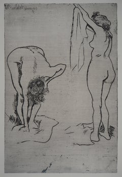 Two Women in the Bathroom - Original etching