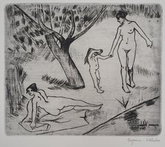 Women and Child on the riverside - Original handsigned etching