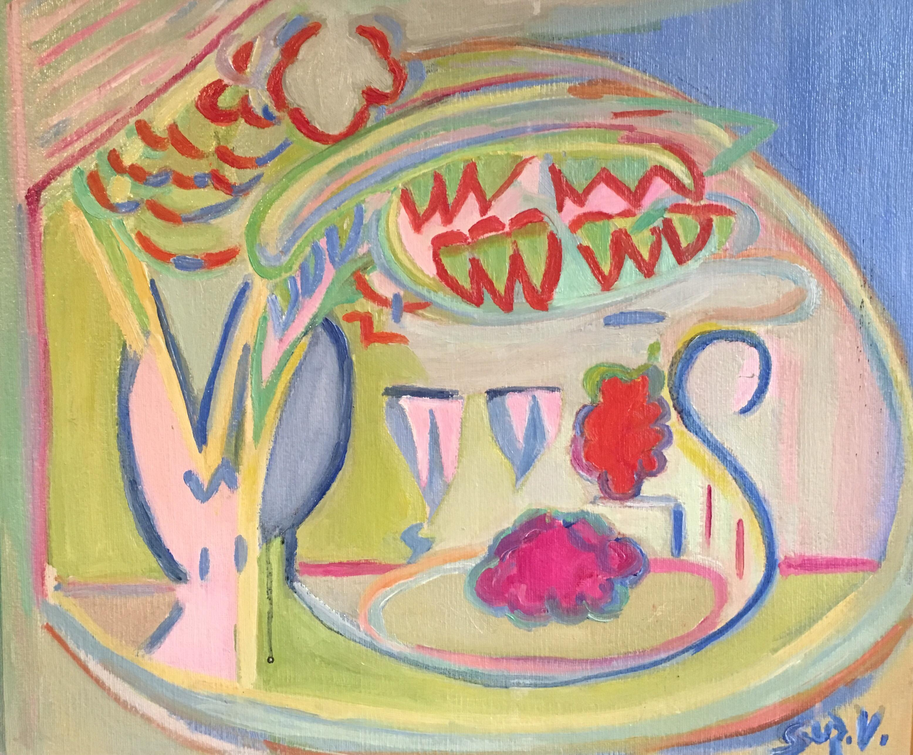 'Verni' Colourful 1970s Abstract Oil Painting