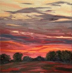 Suzanne Winn, Red Sky At Night II, Original Landscape Painting,