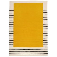 Suzanne Yellow Flat-Woven Dhurrie Rug Black and White Stripe