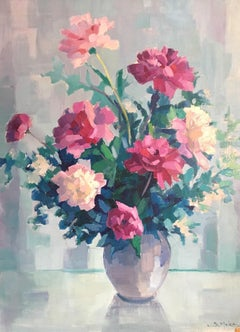 Beautiful Bouquet in Pastel Colours, Oil Painting, Signed