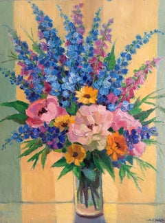 Brimming Bouquet of Flowers, French Oil Painting, Signed