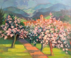 Cherry Blossom Lined Path, French Landscape, Signed