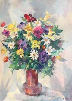 Colourful Floral Bouquet, French Artist, Signed