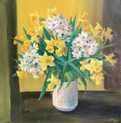 Daffodils in a Yellow Room, Oil painting, Signed