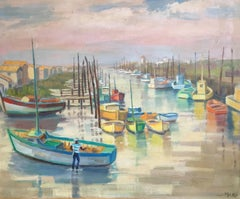 Fishing Boats on a French Mooring, Signed Oil Painting