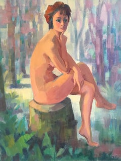 Nude 'La Femme Faune' Impressionist of a Young French Lady, 1970s, Signed
