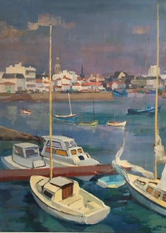 Provencal Fishing Town, Oil Painting, Signed