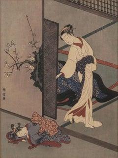Japanese Woodblock -- Woman Looking At Her Sleeping Kamuro