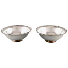 Suzuyo, Pair of Japanese Silver Bowls with Beaded Border