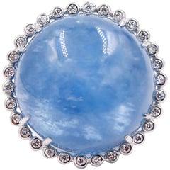 Suzy Landa 18 Karat White Gold Cabachon Aquamarine White Diamond Cocktail Ring