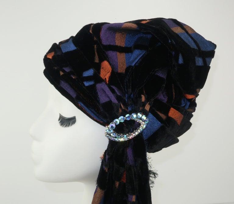 Black Suzy Lee Turban Style Cut Velvet Plaid Hat For Sale