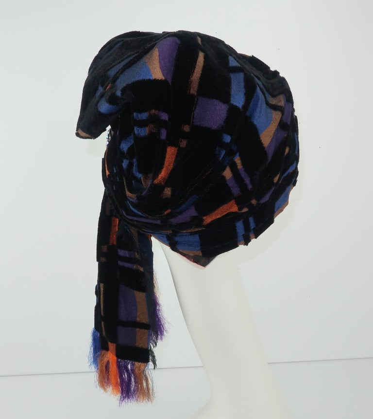 Suzy Lee Turban Style Cut Velvet Plaid Hat In Good Condition For Sale In Atlanta, GA