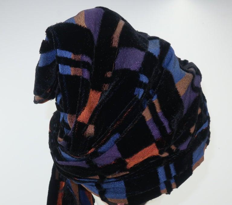 Women's Suzy Lee Turban Style Cut Velvet Plaid Hat For Sale