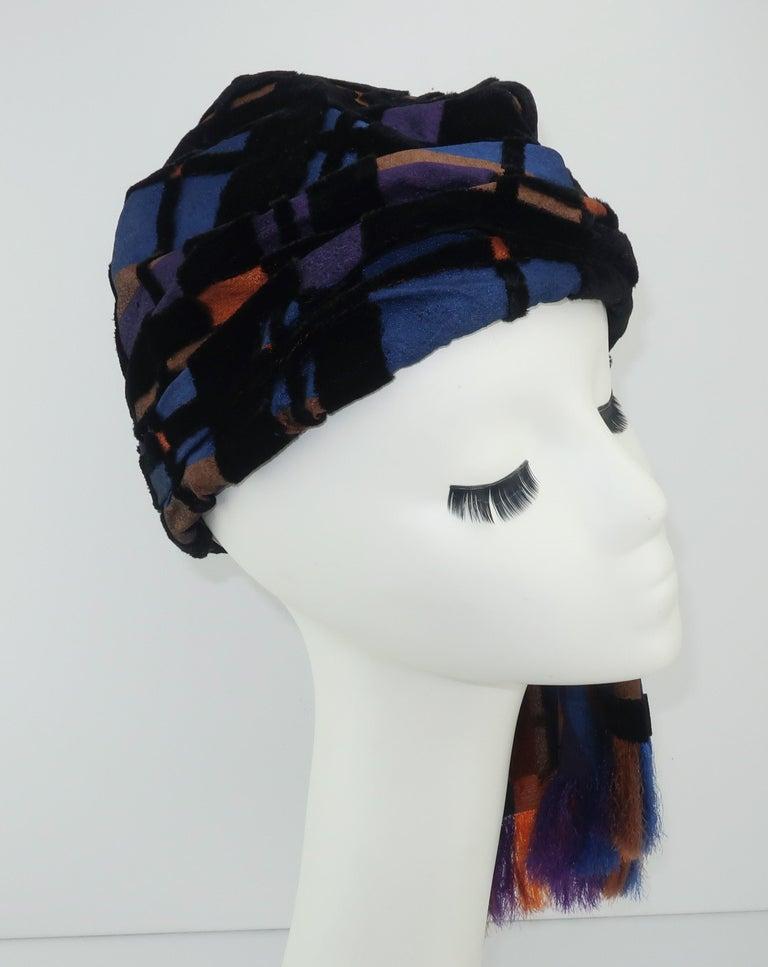 Suzy Lee Turban Style Cut Velvet Plaid Hat For Sale 1